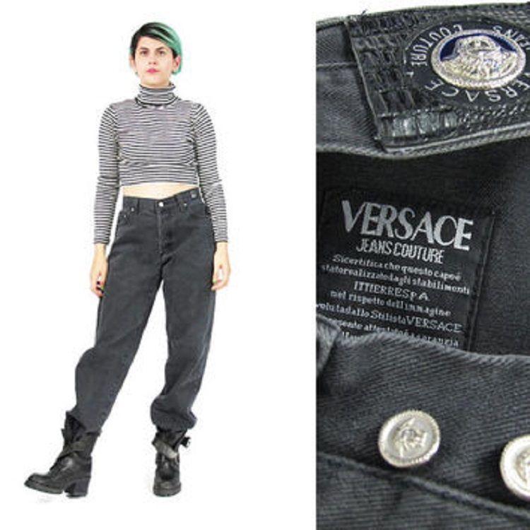89fbe0389fcd NEW with label 80s Authentic Gianni VERSACE Jeans Couture vintage pants  Versace Medusa black cotton pants high waist cigarette pants