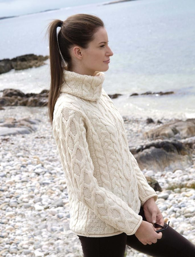 ladies cable knit sweater, wool cable knit sweater, turtleneck ...