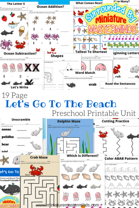 Let\'s Go To The Beach Free 19 Page Preschool Ocean and Beach themed ...