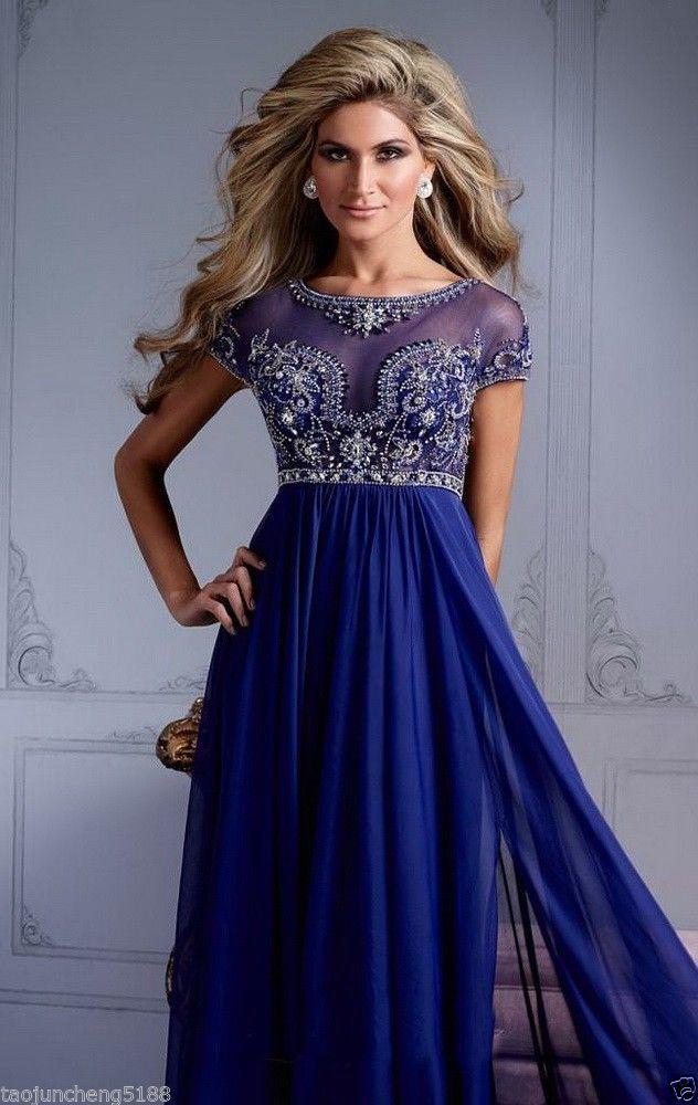 Long blue prom dresses ebay
