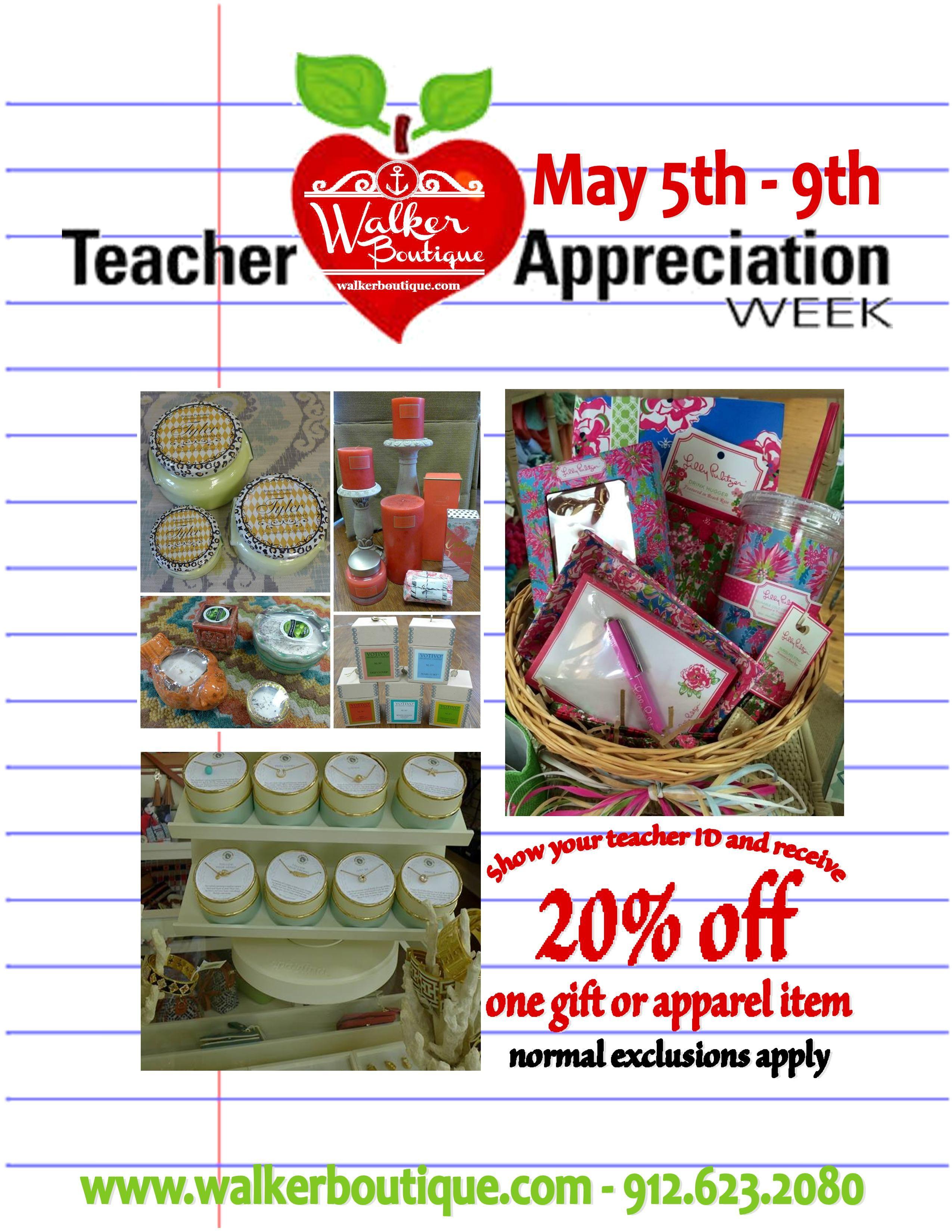 20% off one in store item! Happy Teacher Appreciation Week from Walker Boutique!