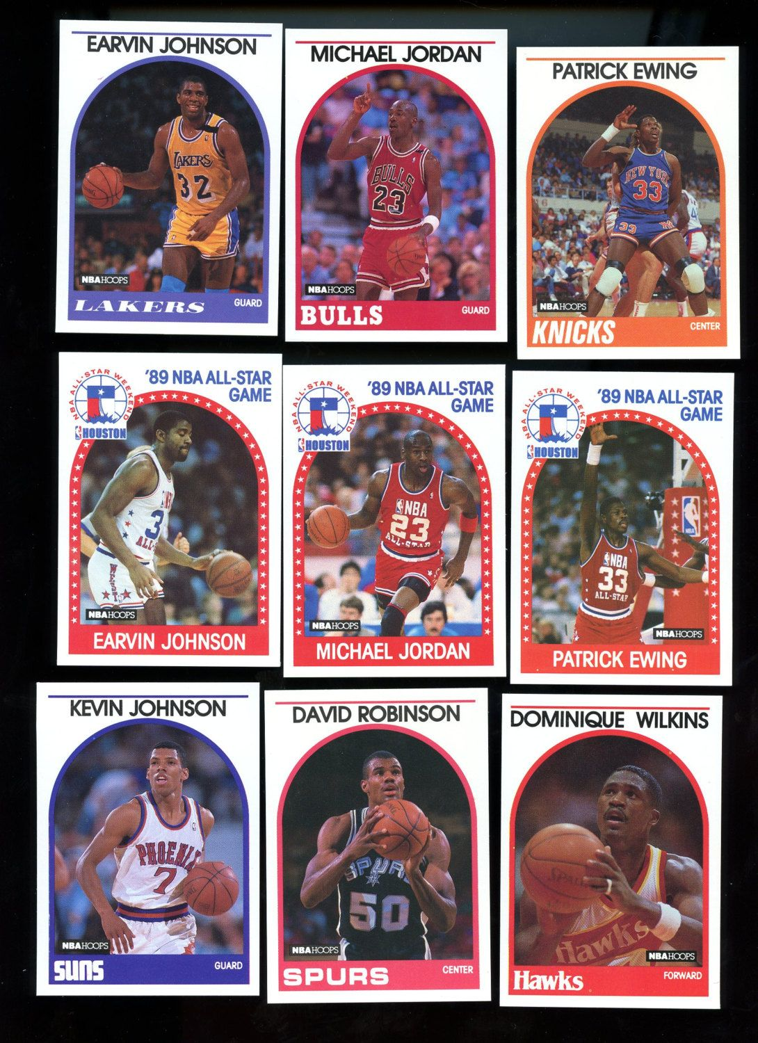 Hoops nba 1989 vintage basketball cards lot of 9 cards
