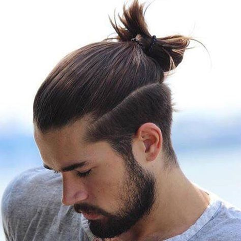 Men S Top Knot Hairstyles Man Bun Hairstyles Man Ponytail Hair