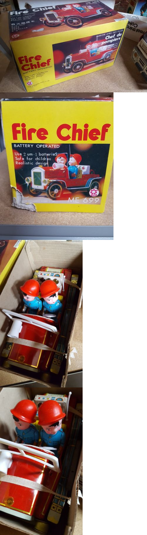 Toys and me images  Other Vintage Tin Toys  Vintage Battery Operated Fire Chief Toy