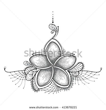 Dotted flower of plumeria or frangipani in black with for Laos tattoo designs