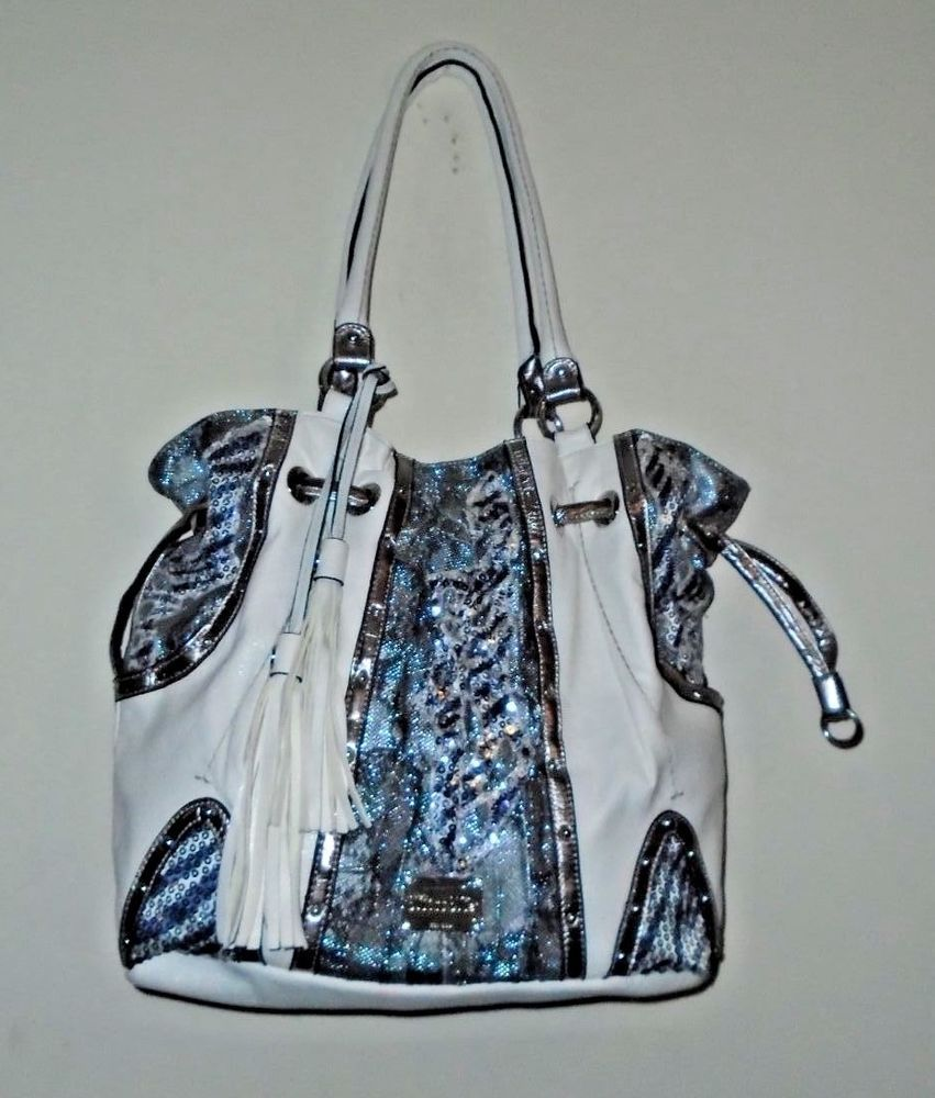 Miss Me White/Pewter Faux Leather Metallic Cinch Purse NWD Sequins Stones Tassel…