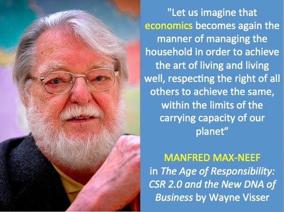 """Quotation by Manfred Max-Need from """"The Age of Responsibility: CSR 2.0 and the New DNA of Business"""" (book) by Wayne Visser. Copyright 2011."""