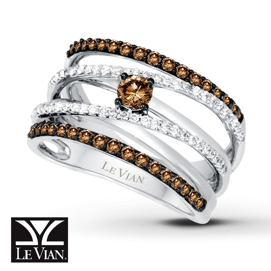 Kay - LeVian Chocolate Diamonds 7/8 ct tw Ring 14K Vanilla Gold ...