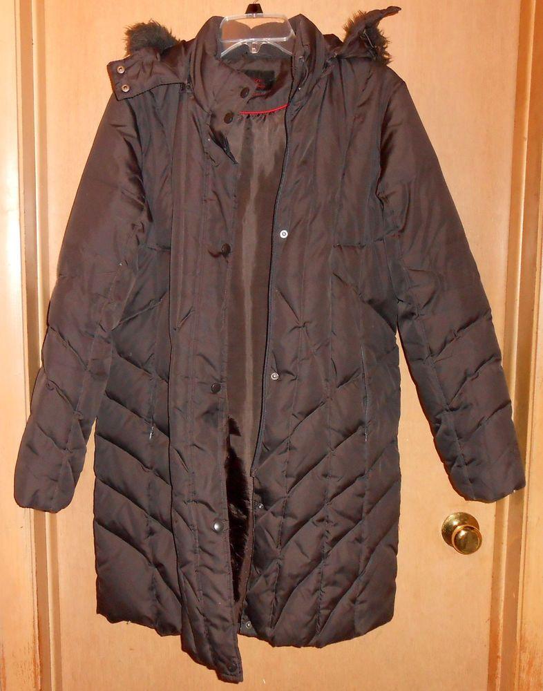 Mac Women S Long Brown Puffer Winter Jacket Removable Faux Fur Hood