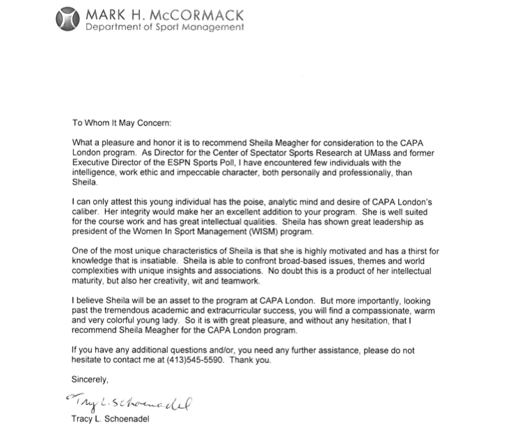 A Letter Of Recommendation For My Application To Study Abroad From Sport Management Professor Tracy Sport Management Letter Of Recommendation Reference Letter