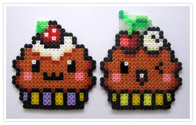 Kawaii cupcakes hama mini beads -  Pixel Art Shop