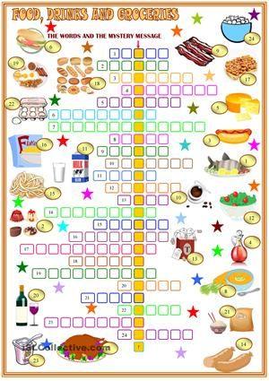 Food Drinks And Groceries Crosswords English Crosswords