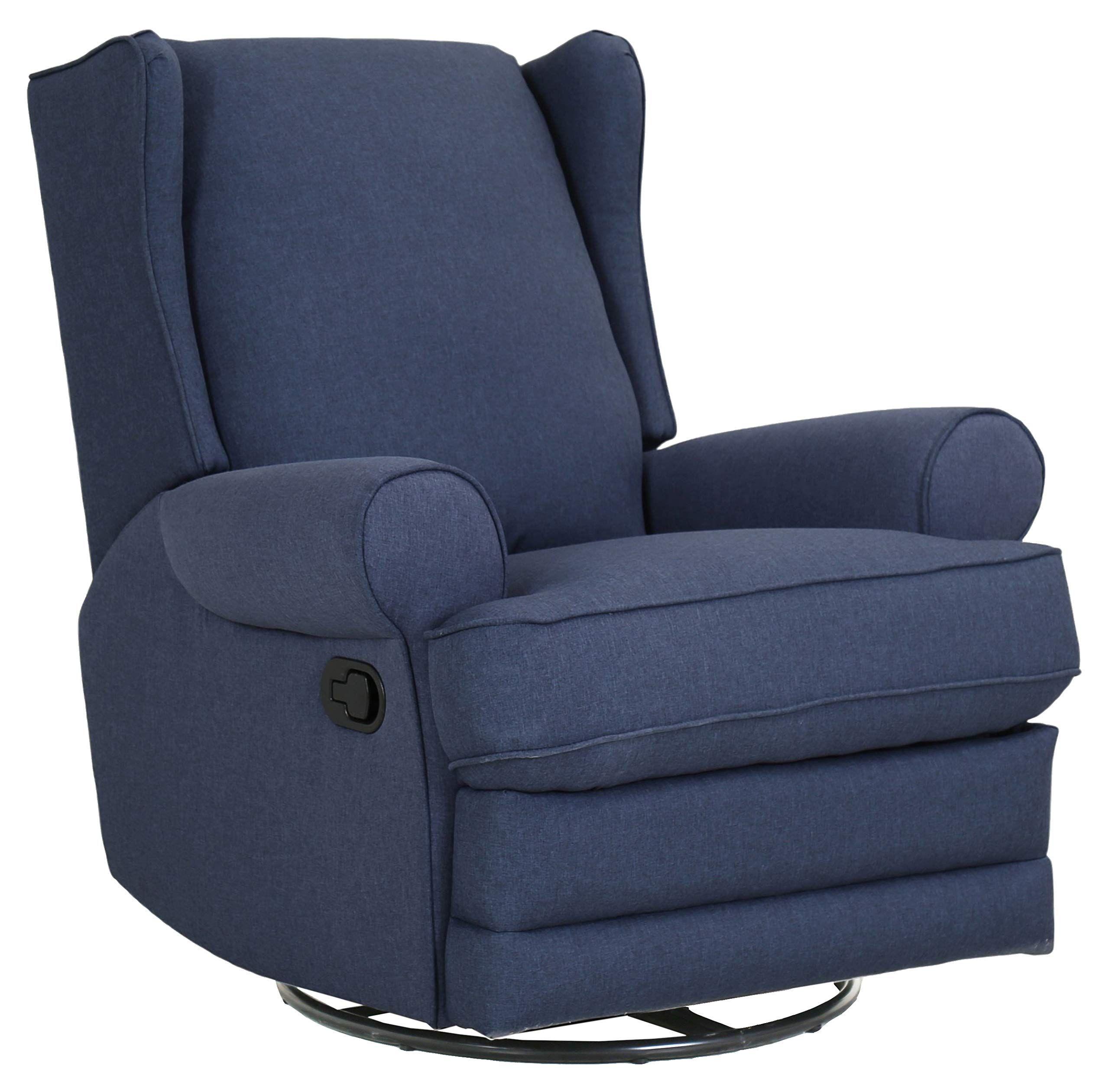 Ravenna Home Manning Swivel Base Recliner 34 6 Quot W Blue Swivel Rocker Recliner Chair Recliner Chair Rocker Recliners