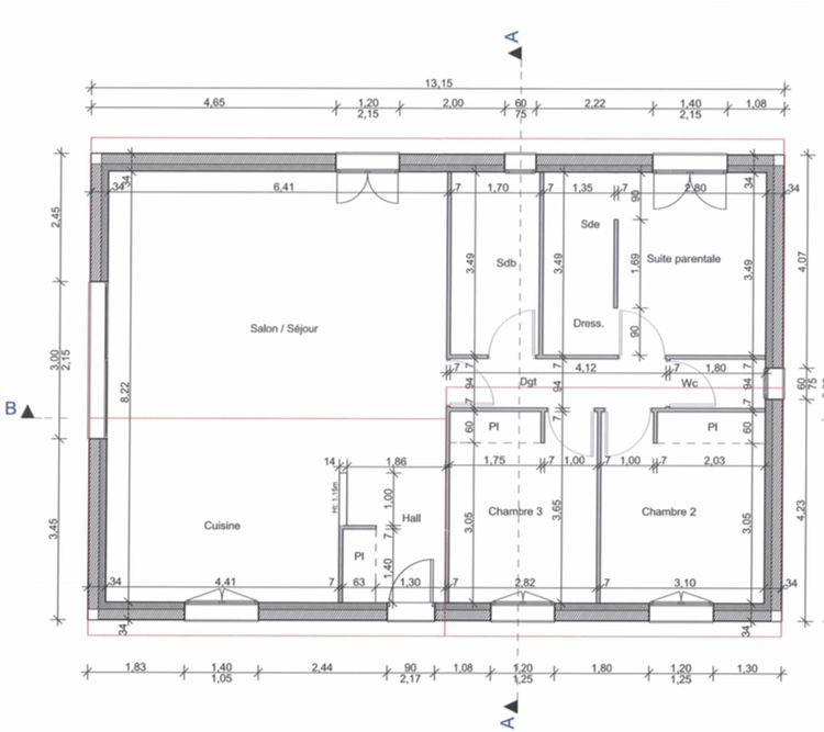 Plan intérieur de la maison - Plein pied et de 100m2 Plans 1 - plan de maison de 100m2 plein pied