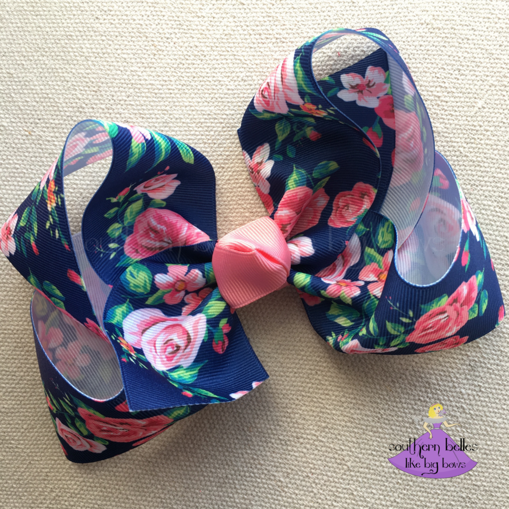 Navy Floral Boutique Bow Various Sizes Boutique Bows Boutique Hair Bows Making Hair Bows