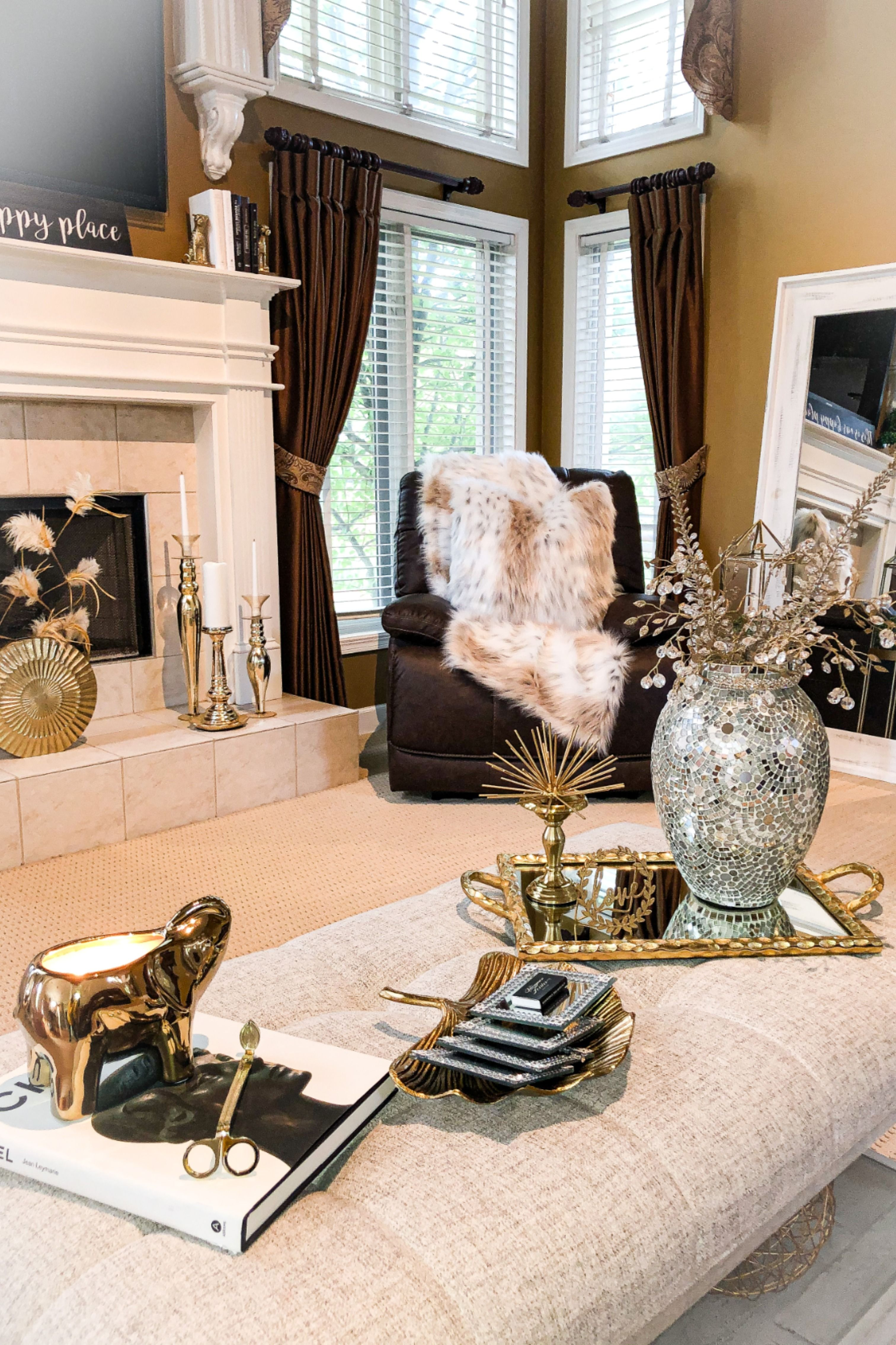 Gold Elephant Candle in 12  Luxury living room, Gold living