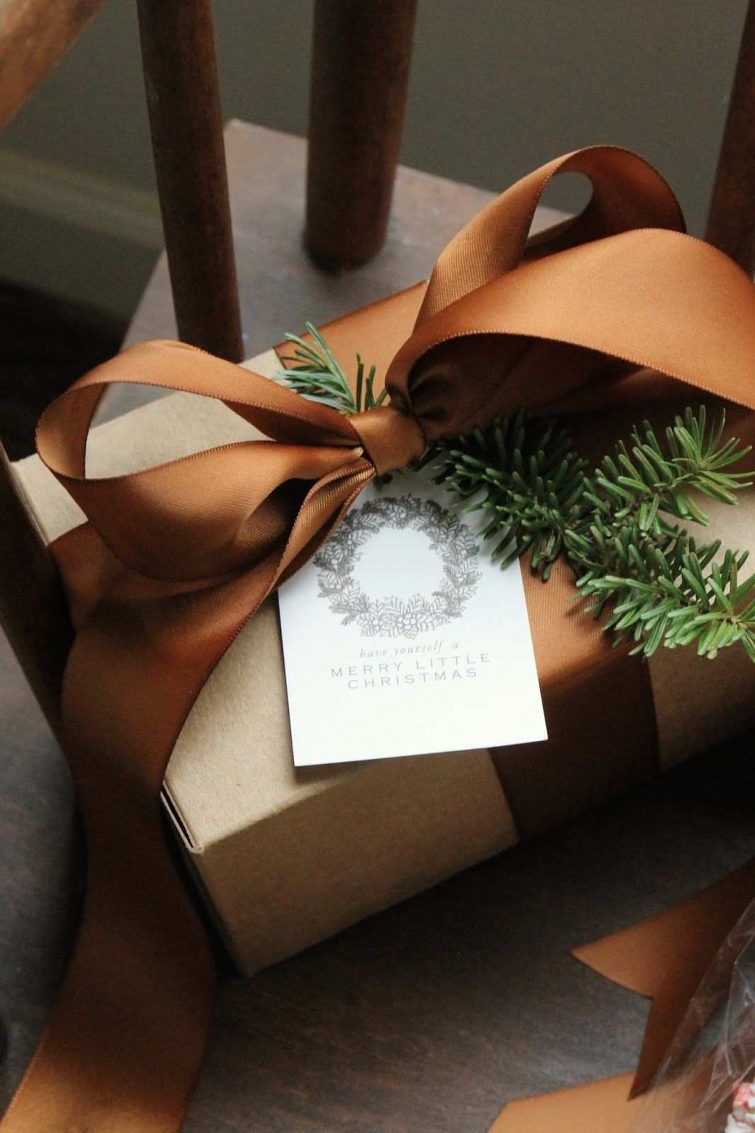 Jenny Steffens Hobick Christmas wrap with copper coloured ribbon