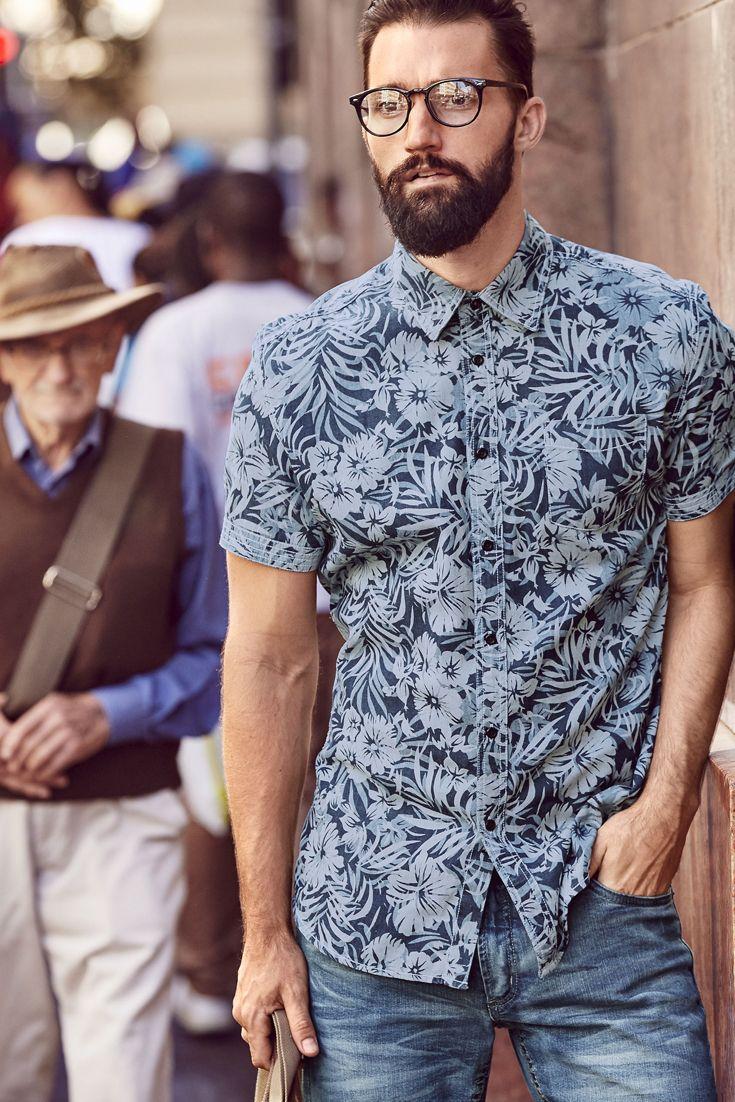 8476780745b John Devin Kurzarmhemd mit Stickerei auf dem Rücken | Printing shirt ...