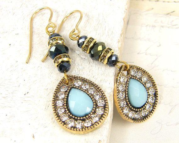 Light Blue Earrings Aqua Teardrop Earrings Gold by CharleneSevier