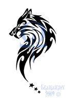Tribal sabertooth Wolf Tattoo by Draikairion