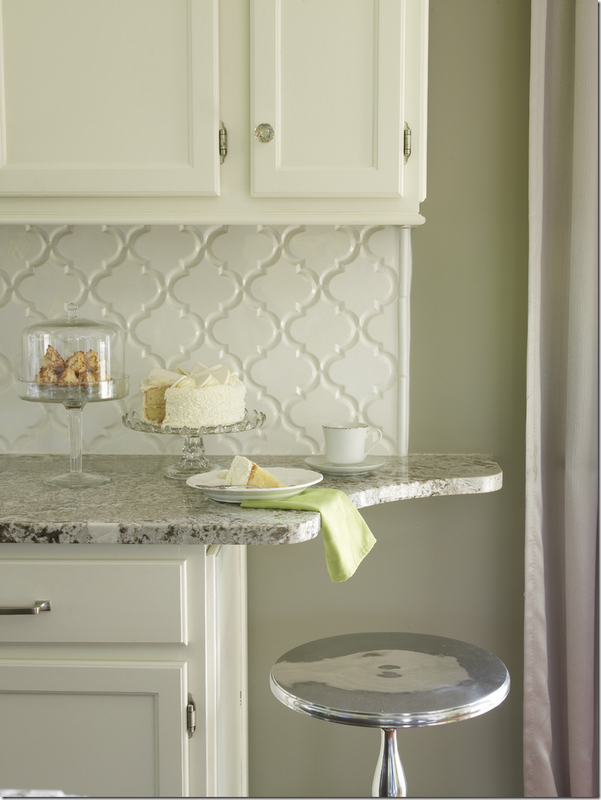 they finished off this counter with a curve beyond the backsplash! it softens the the look so much!