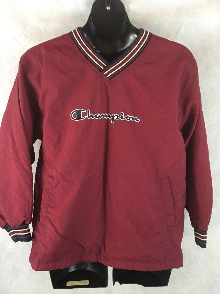 22e1971e Champion Pull Over Nylon Men's Jacket Size XL Burgundy V-Neck Windbreaker # Champion #PullOver