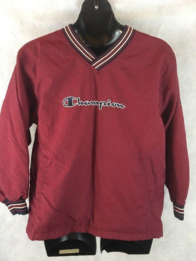 Champion Pull Over Nylon Men's Jacket Size XL Burgundy V-Neck ...
