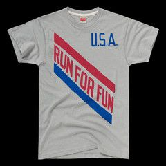 "In 1974, after University of North Carolina runner Tony Waldrop set a meet record with a 3:53 mile, he donned a homemade-looking t-shirt with ""USA: RUN FOR FUN"" stenciled on it before giving post-race interviews. Waldrop would run nine sub-four-minute miles that year, and win the NCAA title in the indoor mile and a gold medal at the '75 Pan-American Games in the 1500 meters. He quit running (and a sure shot at the '76 Olympics) to pursue a PhD in physiology, saying, ""I tried for the Olympics…"