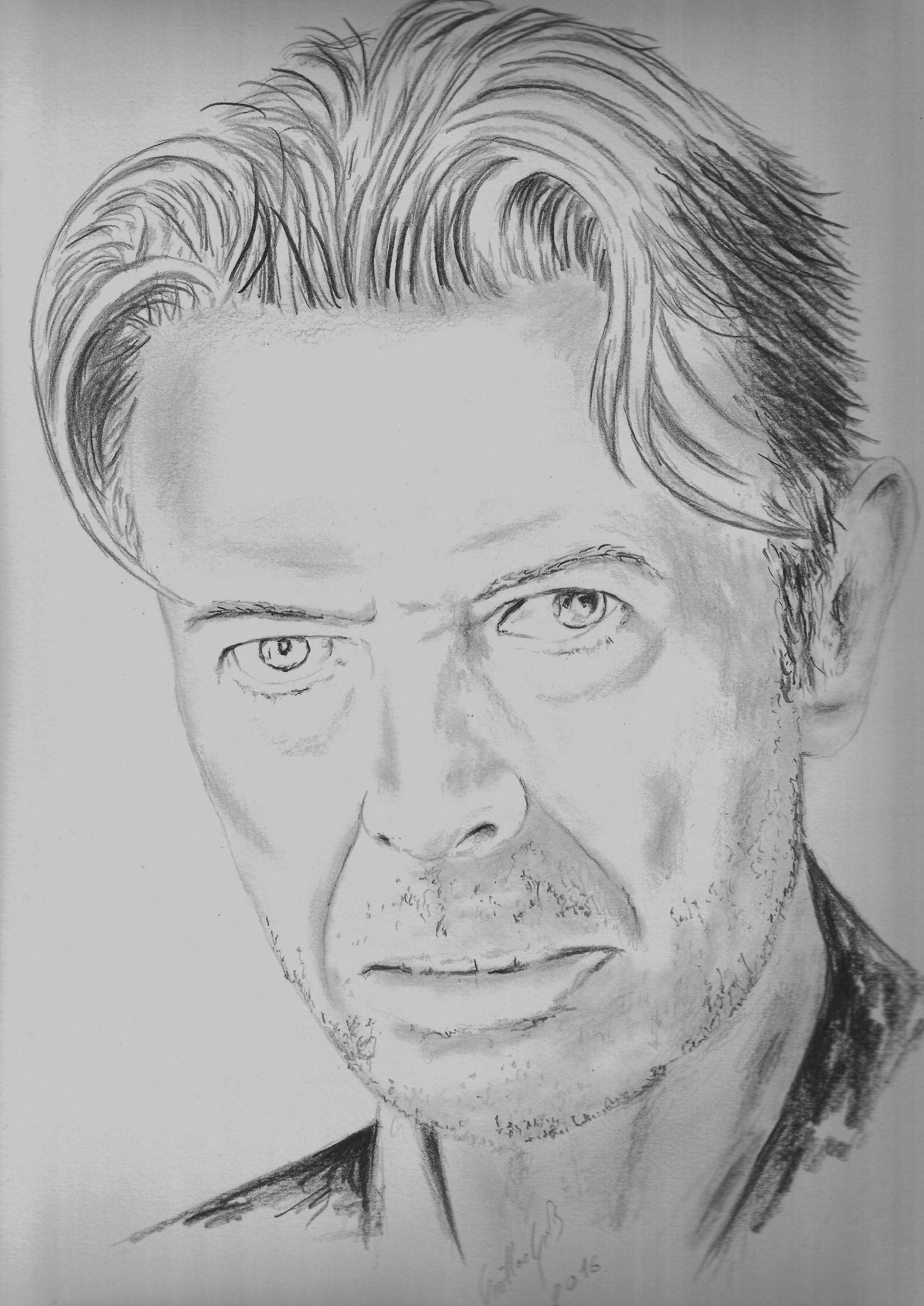 David Bowie. Dessin au crayon