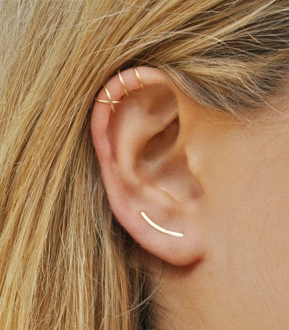 Modern Minimalist Set of 3  Ear Climber Smooth by Benittamoko