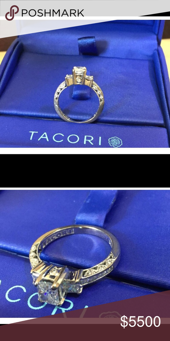 """Tacori Princess Cut Diamond Engagement Ring HT2264 Preowned Professionally Cleaned Brand: Tacori Metal: 18K White Gold Size: 7 Model Number: HT2264 Serial Number: 136710 Two prong-set princess cut .60 ct tw side diamonds VS2 clarity, """"F"""" color, set on either side of an .88ct, """"VS2"""" clarity, """" H"""" color GIA Radiant Cut diamond. The setting contains smaller princess cut sides which are channel-set finished off with pave-set round diamond accents.   Tacori stamp Original Tacori box Appraisal and…"""