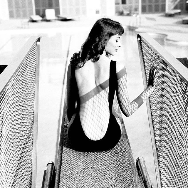 Actress and model Vikki Dougan well known for wearing low cut backless dresses shows off her signature style in this swimsuit in 1957. (Ralph CraneThe LIFE Picture Collection/Getty Images) #fashionfriday by life