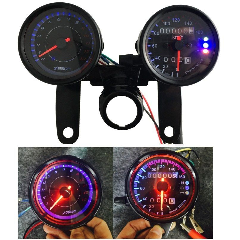 B733 Z 13000 Rpm Dual Color LED Backlights Digital Signal Motorcycle