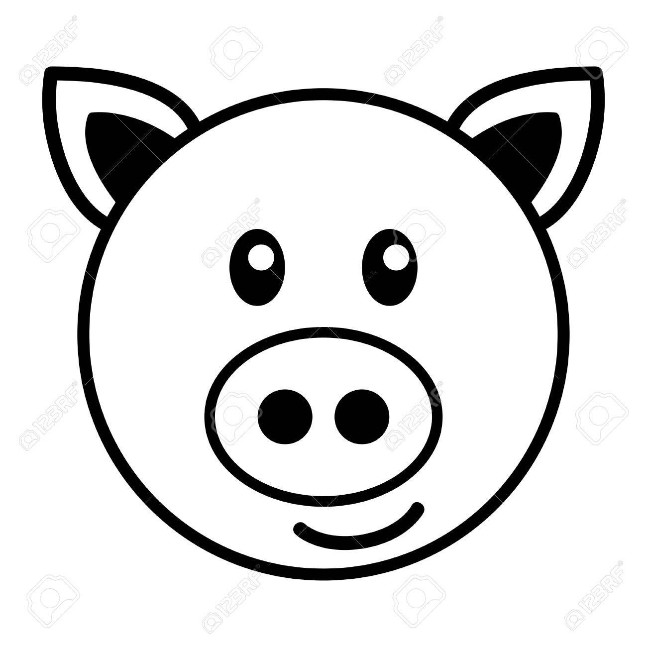1300x1300 Simple Cartoon Of A Cute Pig Royalty Free Cliparts Vectors And Simple Cartoon Cute Pigs Easy Drawings