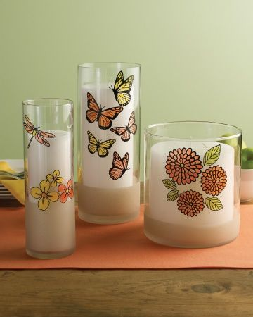 Bright and Beautiful - Martha Stewart Crafts Glass Paint #DIY #crafts #MarthaStewart candles