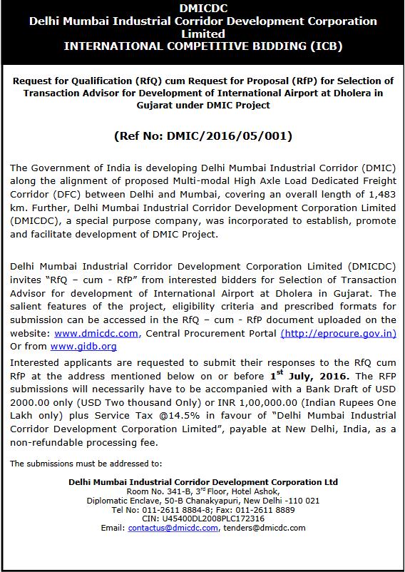 Dholera International Airport Tender for Transaction Advisor