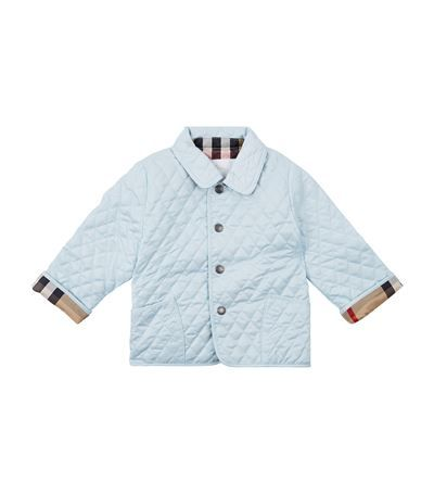f6dc832e1 Burberry Colin Quilted Jacket Light Blue available to buy at Harrods ...