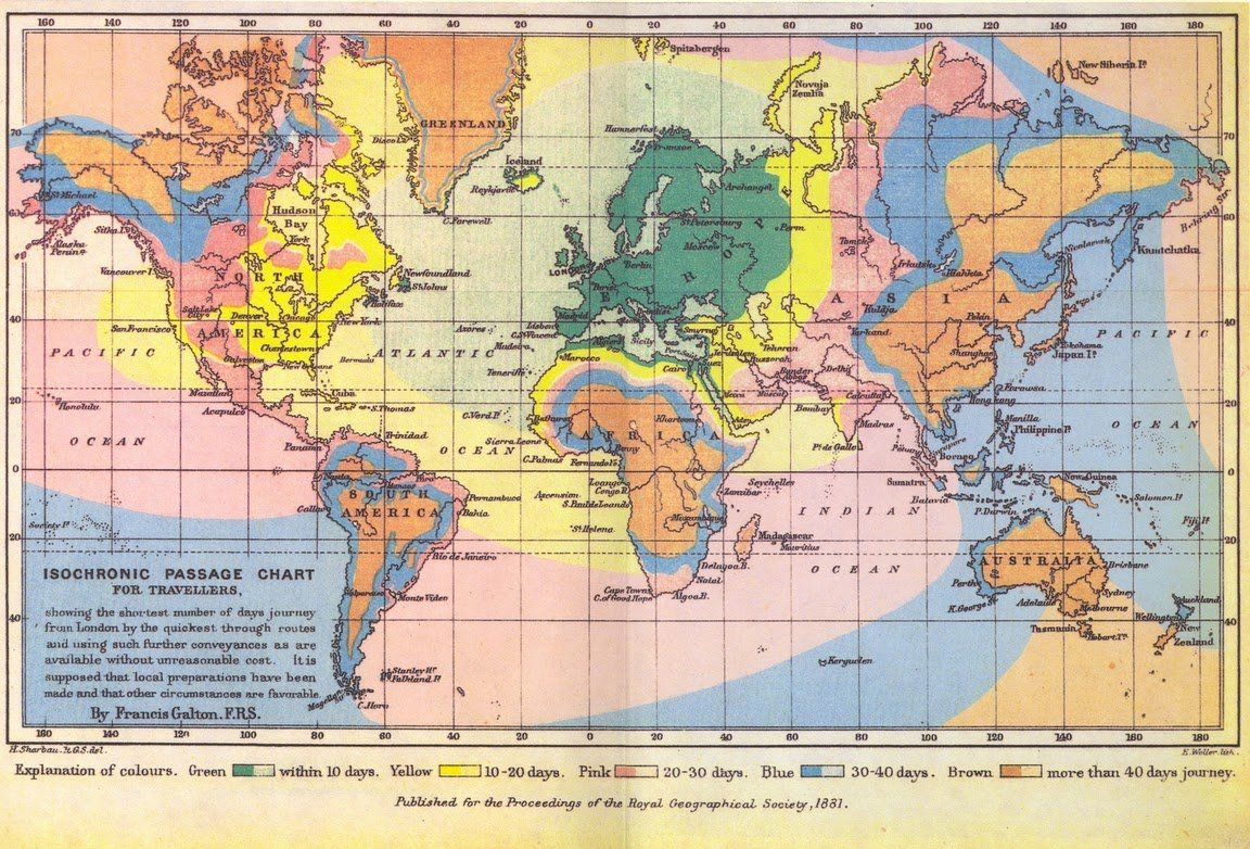 Map showing travel times from london during the steam age by francis explore world maps transportation technology and more map showing travel times gumiabroncs Gallery