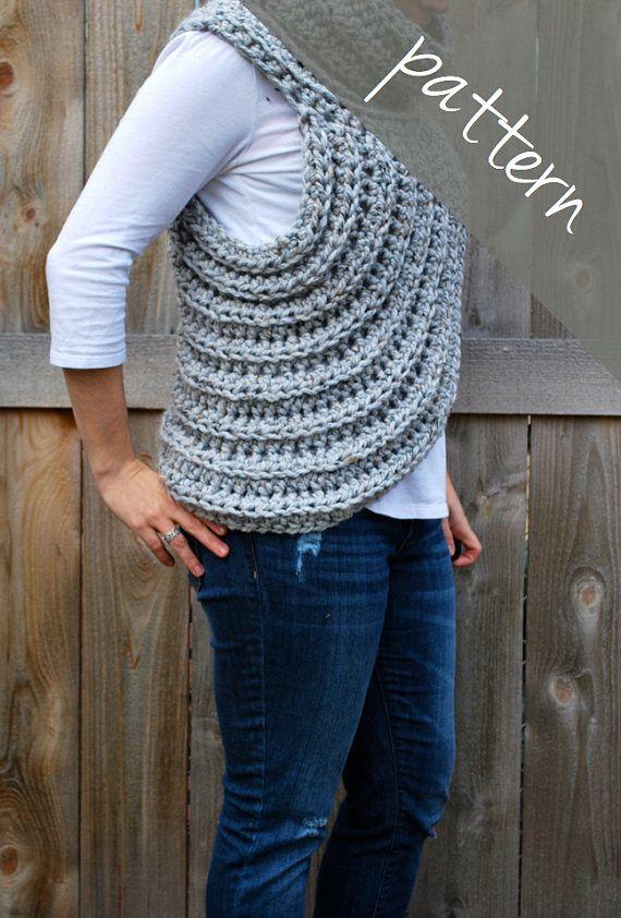 Crochet PATTERN - Cross Body Cowl Scarf - Huntress Vest - Chunky ...