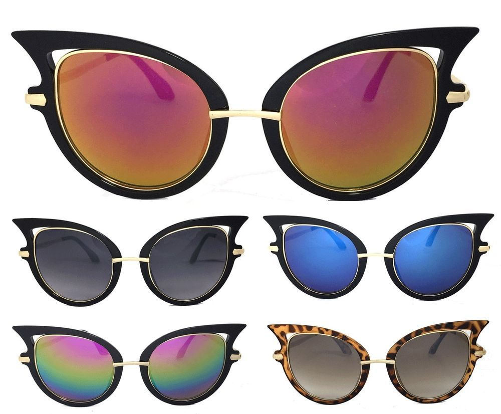 2d44394eed8 Women Retro Large Sexy Cat Eye Sunglasses Gold Metal Arm UV Protect in  Clothing