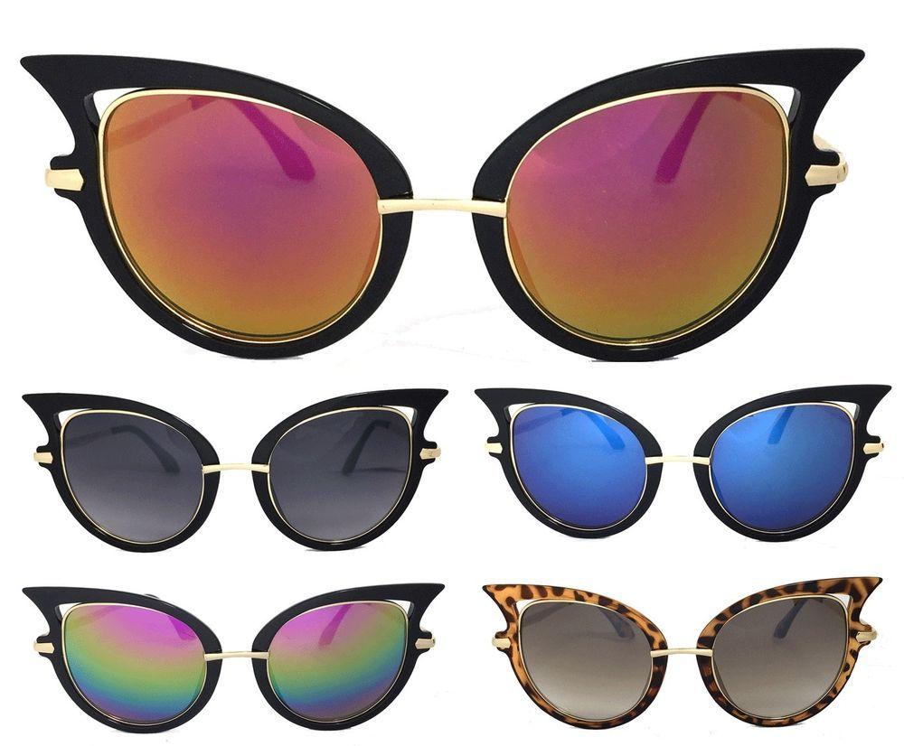 f6b0963dd4 Women Retro Large Sexy Cat Eye Sunglasses Gold Metal Arm UV Protect in  Clothing