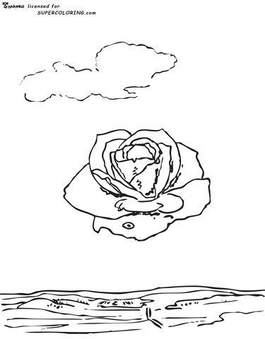 Meditative Rose By Salvador Dali coloring page | SPiRiT oF CoLoRiNg ...