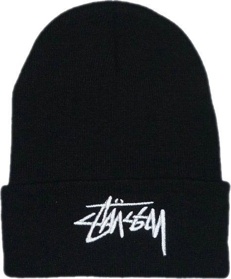 1781ddb2a3c Stussy Beanie Embroidered Logo Black BN-043