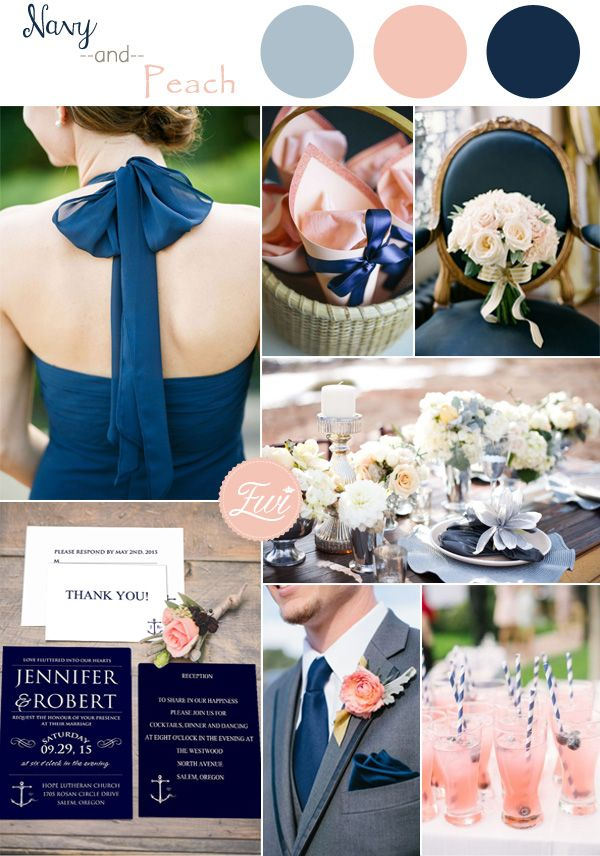 Navy Blue And Peach Inspired Wedding Color Ideas Invitations