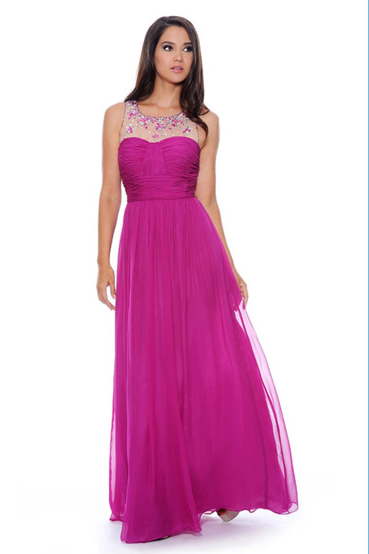 2014 Scoop Neckline Pleated Bodice Princess Chiffon Prom Dress Floor ...