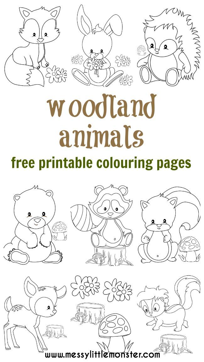 Woodland Animal Colouring Pages Printables For Kids Pinterest