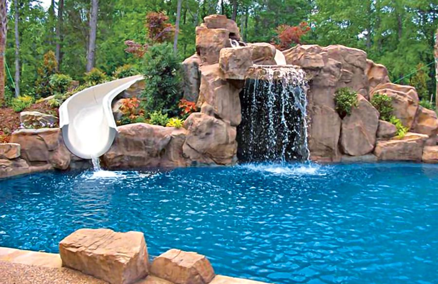 Swimming Pool Rock Slides Photos Blue Haven Pools Pool Water Slide Pool Waterfall Swimming Pool Waterfall