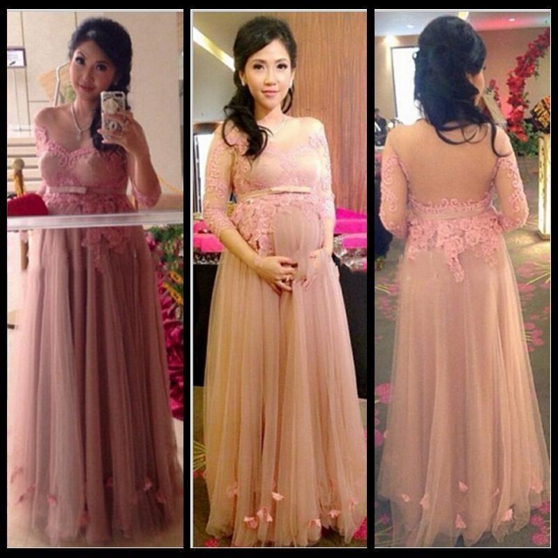 Blush Maternity Wedding Dresses Pregnant 3 4 Sleeve Bridal Gown Plus ...