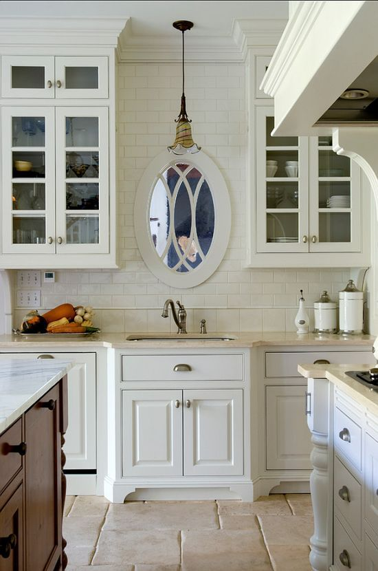 Great Idea If No Window In Front Of Sink Hang Mirror So As Not To Be Looking At Blank Home Kitchens Kitchen Remodel Kitchen Design Small
