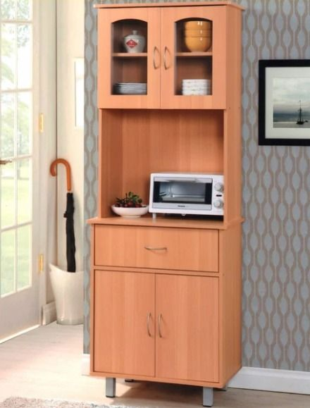 Kitchen Storage Cabinet Microwave Stand Utility Drawer Shelves Wood Furniture Hodedah